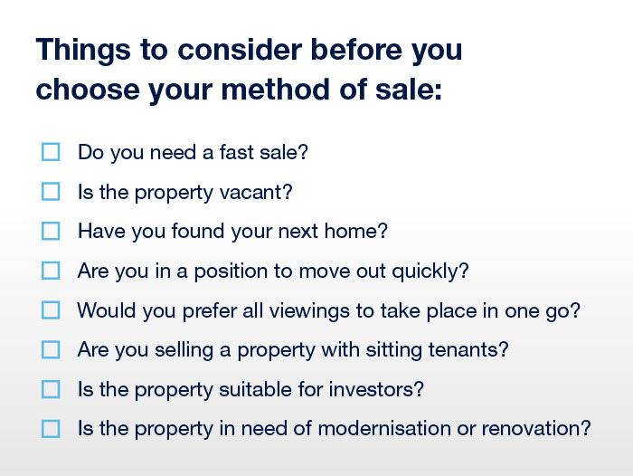 Choose your method of selling your property